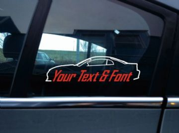 2x Custom YOUR TEXT car stickers - for Ford Mustang Cobra SN95 4th gen  1999-2004 (new edge)